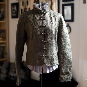 Elie Tahari Victorian Olive Brocade Jacket M